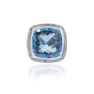 David Yurman David Yurman Sterling Silver Blue Topaz & Diamonds Large Ring