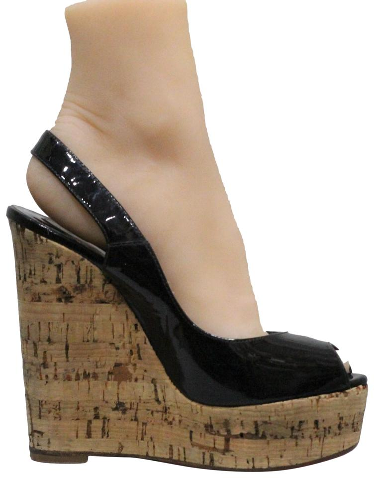 61c7a9c73586 Christian Louboutin Black Une Plume Patent Leather Wedges Size EU 35 ...