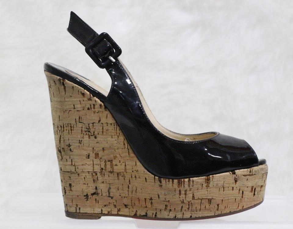 b1b4d4dfe438 Christian Louboutin Black Une Plume Patent Leather Wedges Size EU 35  (Approx. US 5) Regular (M