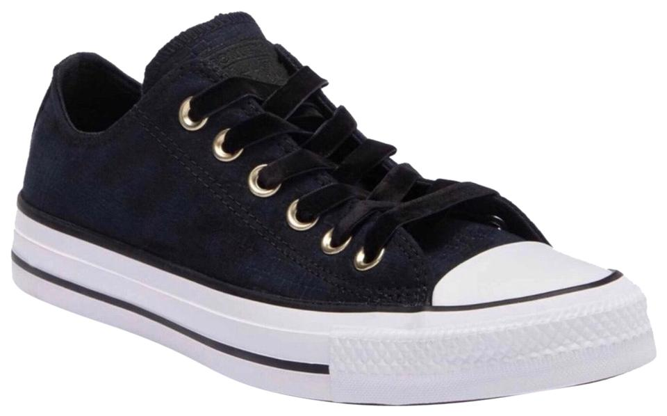 Converse Black White Luxe Velvet Laces Lo Ox Suede Sneakers Sneakers ... a0082ee0cfce