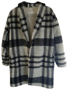Madewell Plaid Cozy Tailored Sherpa Cocoon Pea Coat