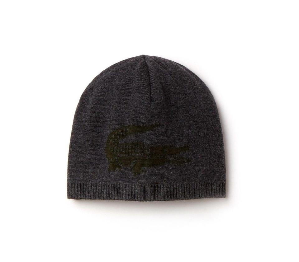 5dfb829c688 Lacoste NEW MEN S LACOSTE (RB3531) BIG CROC LOGO GREY WOOL BEANIE HAT CAP  REVE ...
