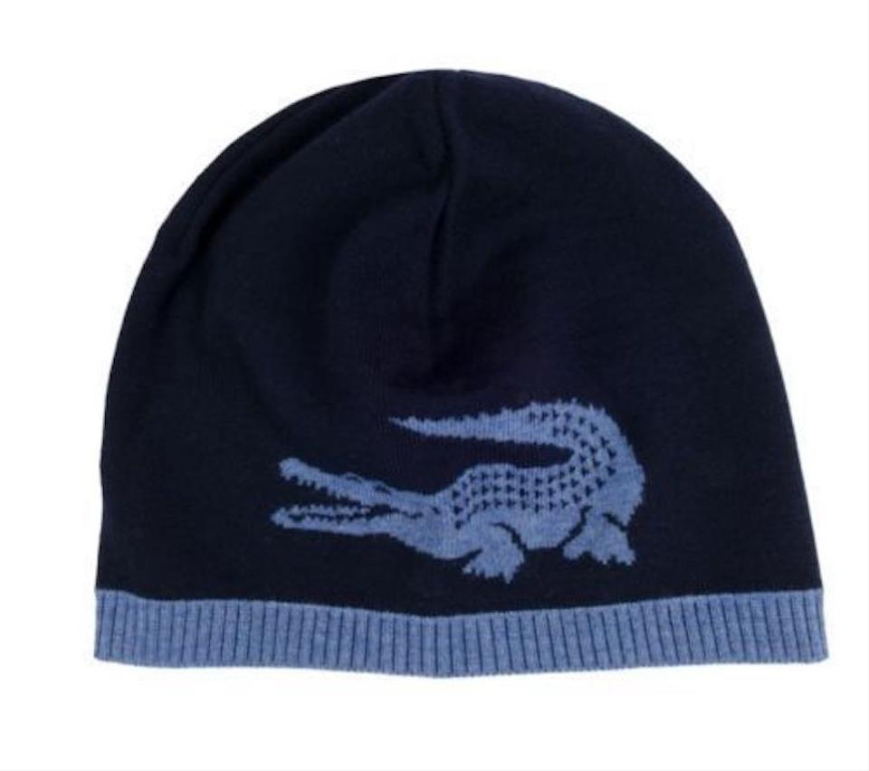 8d9b7e0e1 Lacoste NEW LACOSTE (RB3531) BIG CROC LOGO BLUE MERINO WOOL BEANIE HAT CAP  REV. 123