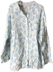77584ee8 J. Jill Linen Machine Washable Button Top White with Blue/Green Paisley