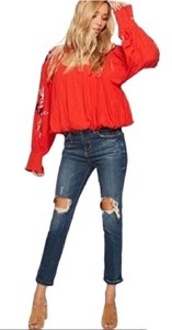 Free People Freepeoplesmall Embroidered Cutout Fp Top Red