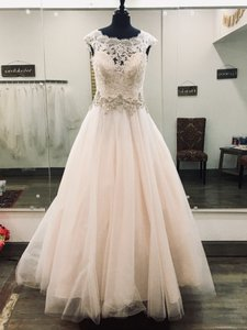 Allure Bridals Light Pink Lace/Tulle #2967 Formal Wedding Dress Size 14 (L)