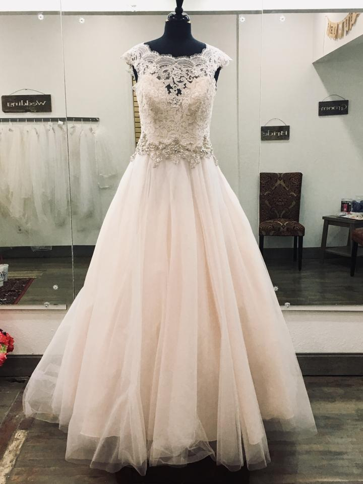 acfd8ae35063 Allure Bridals Light Pink Lace/Tulle #2967 Formal Wedding Dress Size ...
