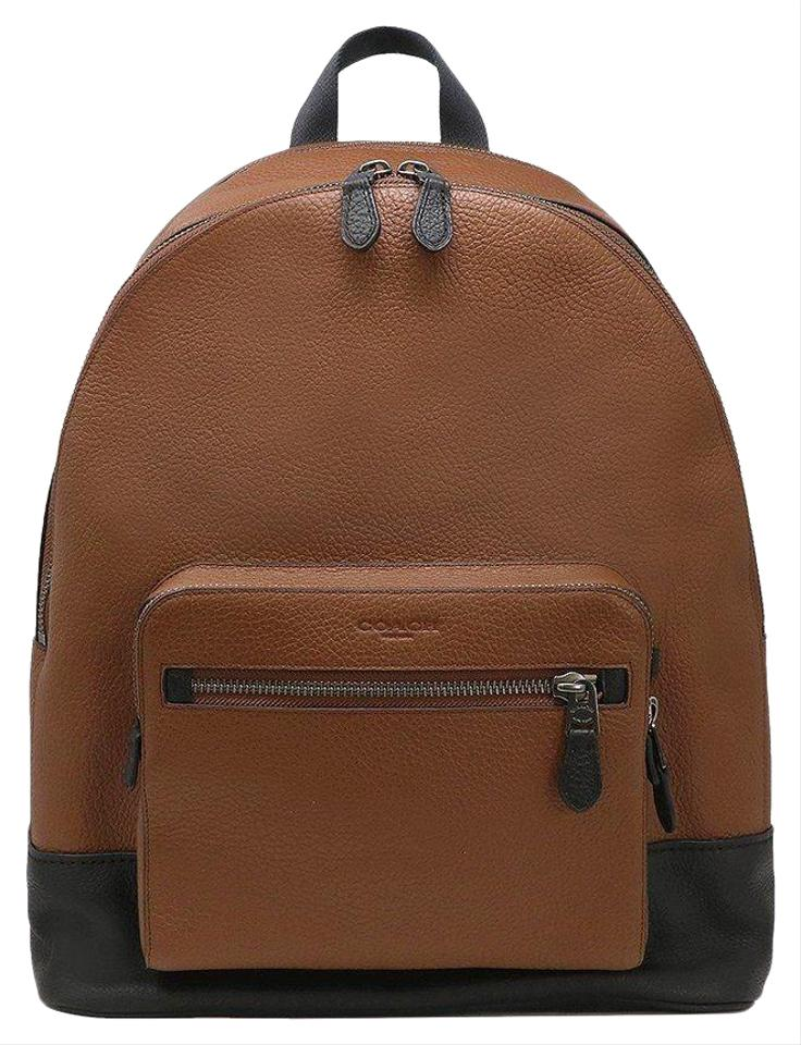 4c4b4ab1ba5 Coach Saddle Men s (F35429) West Pebbled Brown Leather Backpack ...