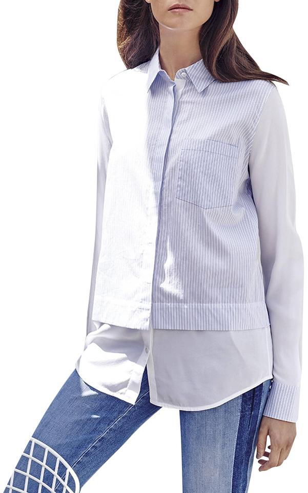 76b204301e90d0 Vince Optic White Blue Stripe Classic Layered Effect Shirt Button-down Top.  Size  10 ...