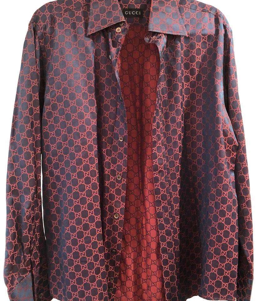 Gucci Red Silk Mens Dress Shirt And Green Changeant Button Down Top