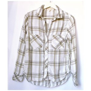 Cloth & Stone Plaid High And Low Button Down Shirt natural/beige/tan