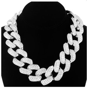 "Master Of Bling 30mm 18"" Men's Iced Out Cuban Choker 14k White Gold Finish Necklace"