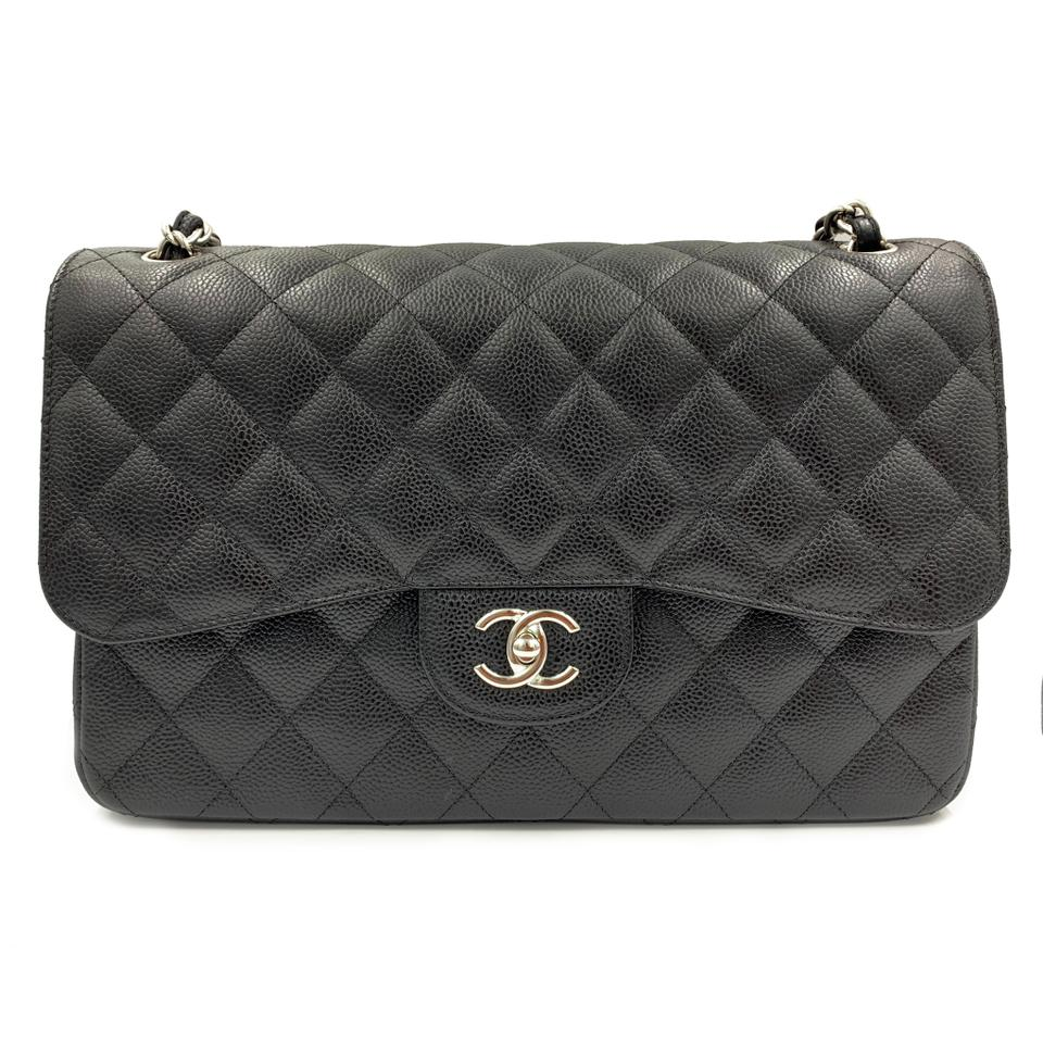 75020621f29b Chanel Classic Jumbo Double Flap Caviar Black Leather Clutch - Tradesy