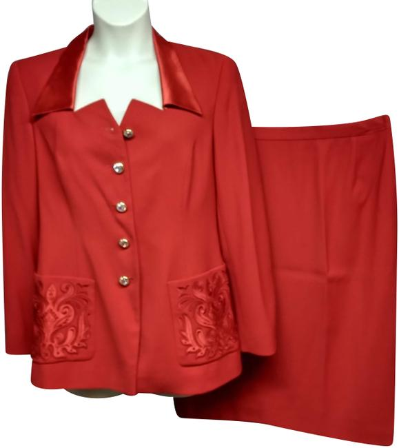 Item - Red Couture Satin Trim Wool 42 Skirt Suit Size 12 (L)