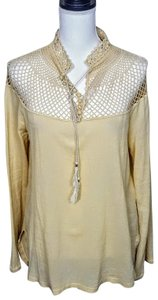 Free People Boho Longsleeve Tassle Sideslit Peasant Top Cream, Solid
