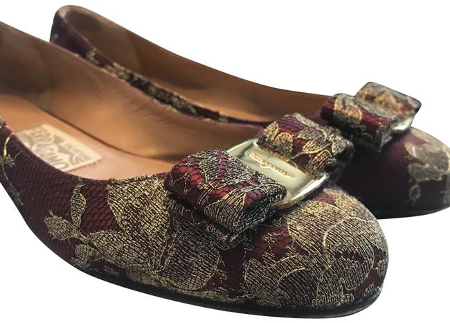 Item - Red with Gold Lace Classic Varina Ballet Flats Size US 5.5 Regular (M, B)