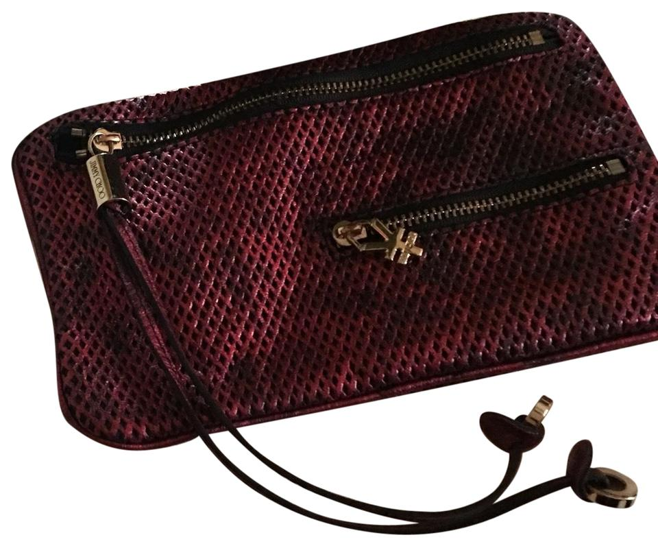 1c81df50c45e Jimmy Choo Snake Print Fuschia Black Leather Clutch - Tradesy