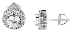 Master Of Bling Designer Silver Tone Round Cut Screw Solitaire Studs Earring