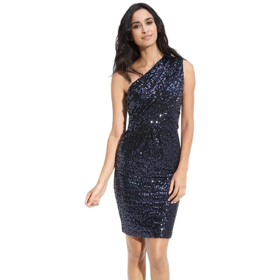 1b30f67a5bf Calvin Klein Blue New Sequin Short Cocktail Dress Size 14 (L) - Tradesy