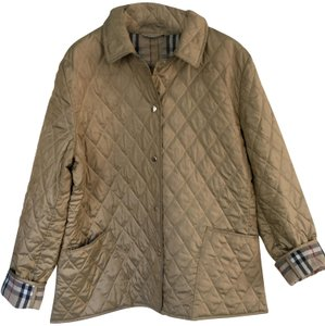 Burberry Tan Quilted Champagne Gold Jacket