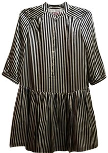60ef4ede798 Juicy Couture short dress White   Navy Blue Striped Classic Silk Drop Waist  Embellished on Tradesy