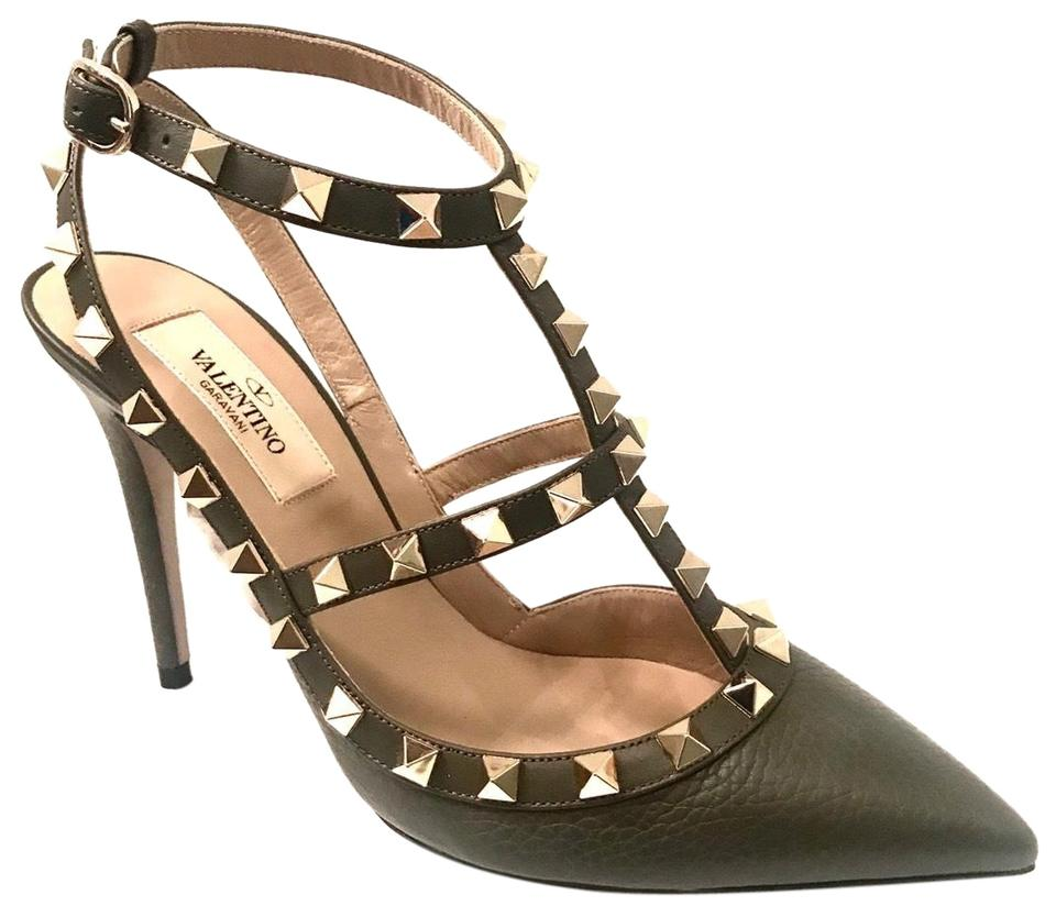 original best authentic wholesale outlet Valentino Olive Green Gold Rockstuds T-straps Pumps Size US 6.5 Regular (M,  B) 32% off retail