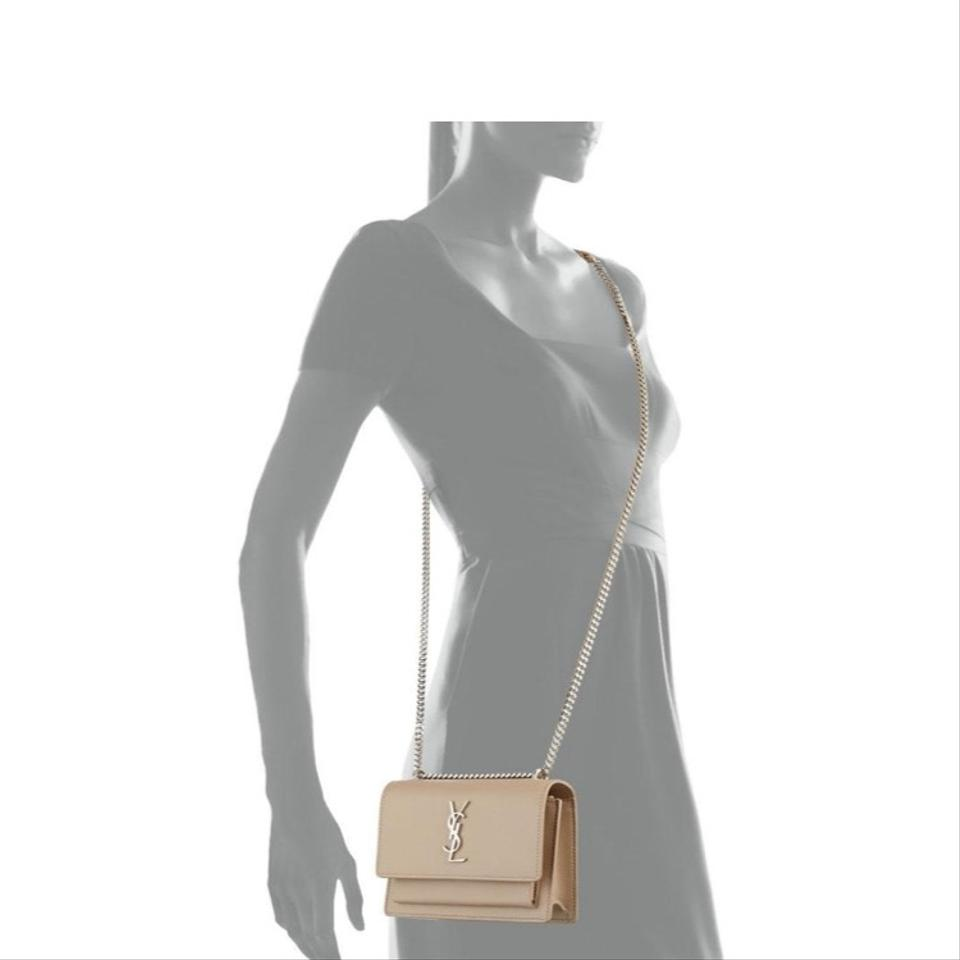 098587711e72 Saint Laurent Monogram Sunset Chain Wallet Smooth Calf Leather Nude ...