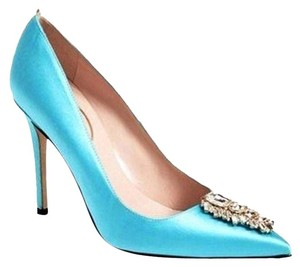 SJP Satin Upper Pointed Toe Slip On Rhinestone Brooch Ribbon Trim Blue Satin Pumps