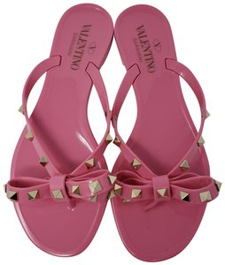 Valentino Rockstud Gold Hardware Jelly Bow Studded Pink Sandals