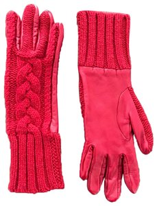 Barneys New York Cable Knit Cashmere & Leather Gloves