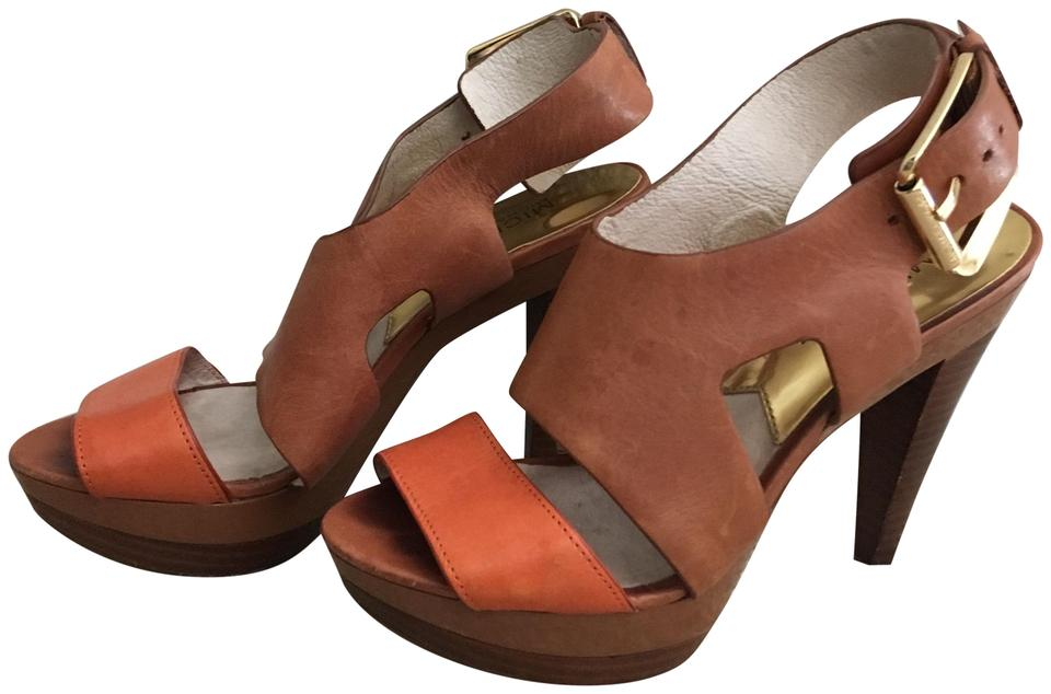 dcb453a66e0 Michael Kors High Heel Color Block Platform Tan  Orange Sandals Image 0 ...