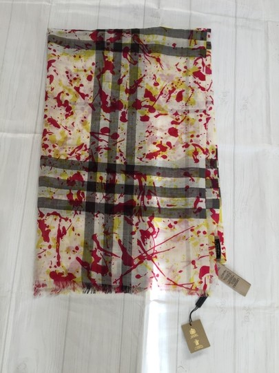 Burberry Burberry Wool and Silk Splash Gauze Giant Check Scarf in Bright Yellow Image 1