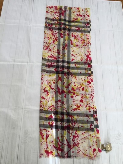 Burberry Burberry Wool and Silk Splash Gauze Giant Check Scarf in Bright Yellow Image 2