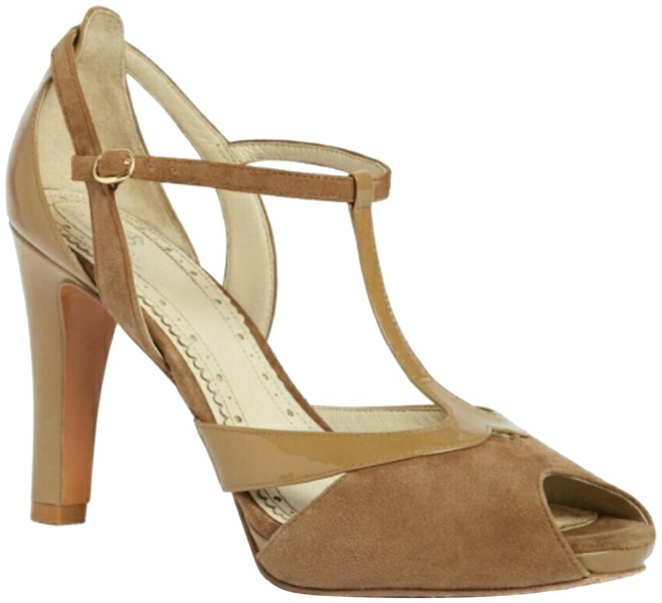 bf5bec298 Brooks Brothers Nude Tan Peep Toe T Strap Suede Patent Leather Heels ...
