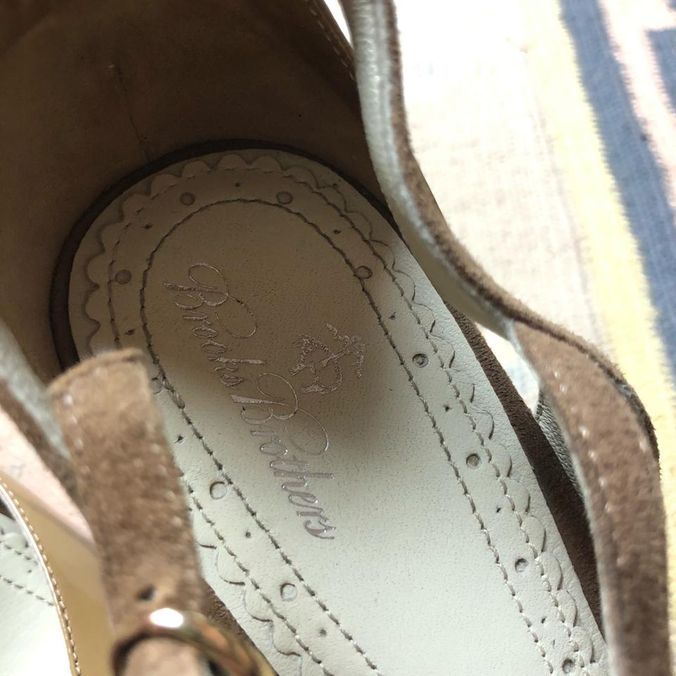 755d6eb1ba5 Brooks Brothers Nude Tan Peep Toe T Strap Suede Patent Leather Heels ...