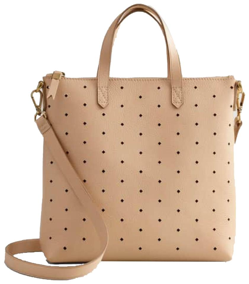 Madewell Mini Transport Perforated Crossbody Camel Leather Tote ... 95aa40dece20d