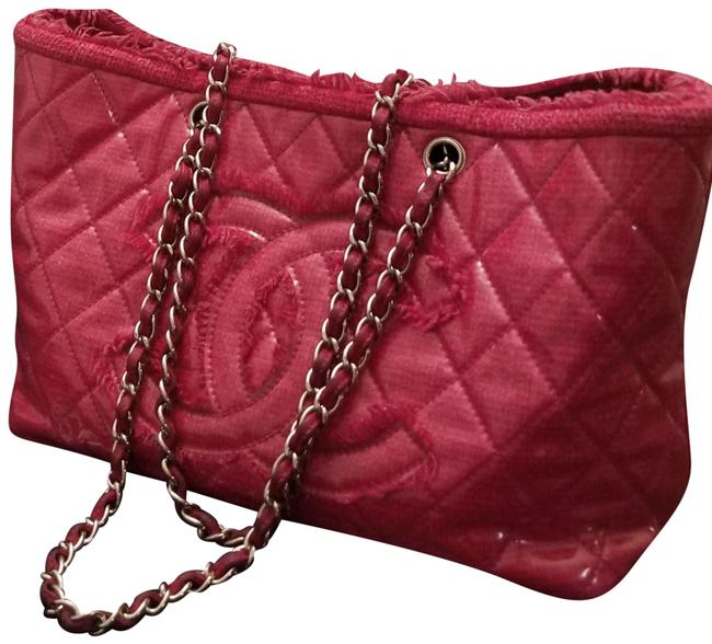 """Item - Shopping Today Sale Only"""" Quilted Pink Patent Leather Tote"""
