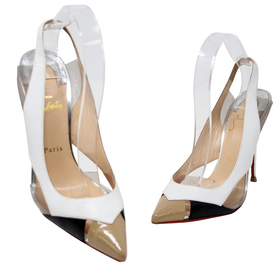 7734b74ee173 Christian Louboutin White Beige Black Leather and Pvc Air Chance Slingback  9.5 40 Pumps