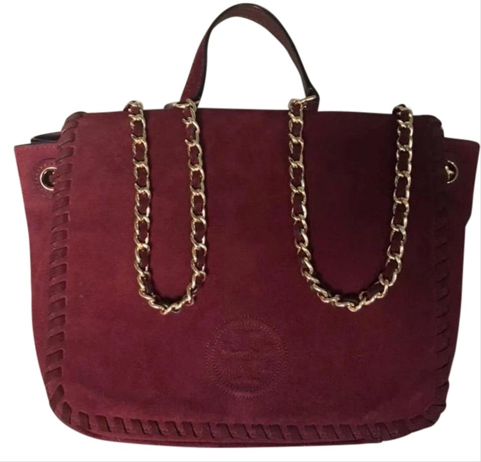 59a3fc3135d0 Tory Burch Marion Small Flap Port (Deep Wine) Suede Leather Shoulder ...