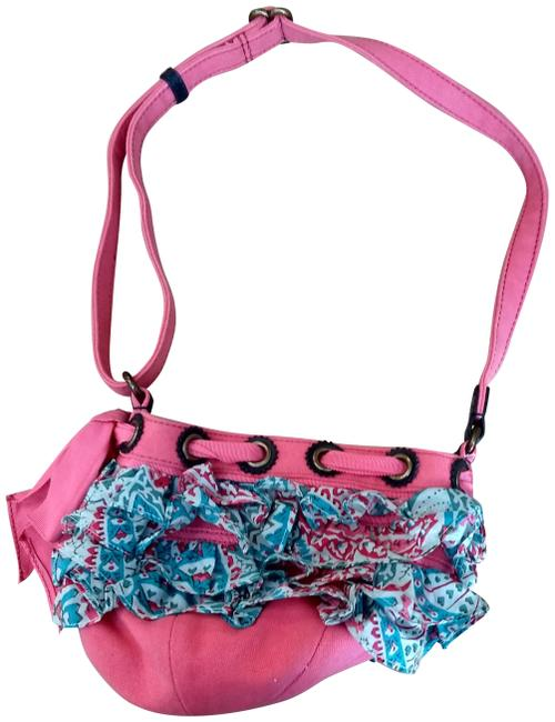Item - Pink and Blue Cotton Cross Body Bag