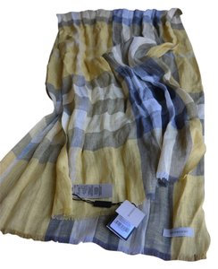 Burberry Burberry Giant Exploded Check Linen Scarf, Yellow