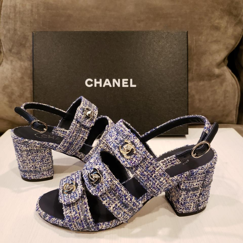 Chanel Blue Grey White 18p Strappy Tweed Turnlock Cc Ankle Strap ...