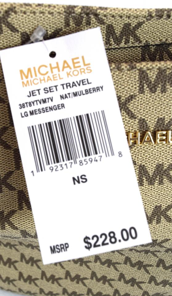 e0c4839ae2cfd6 Michael Kors Jet Set Travel Large Brown/Red Natural/Mulberry Faux ...
