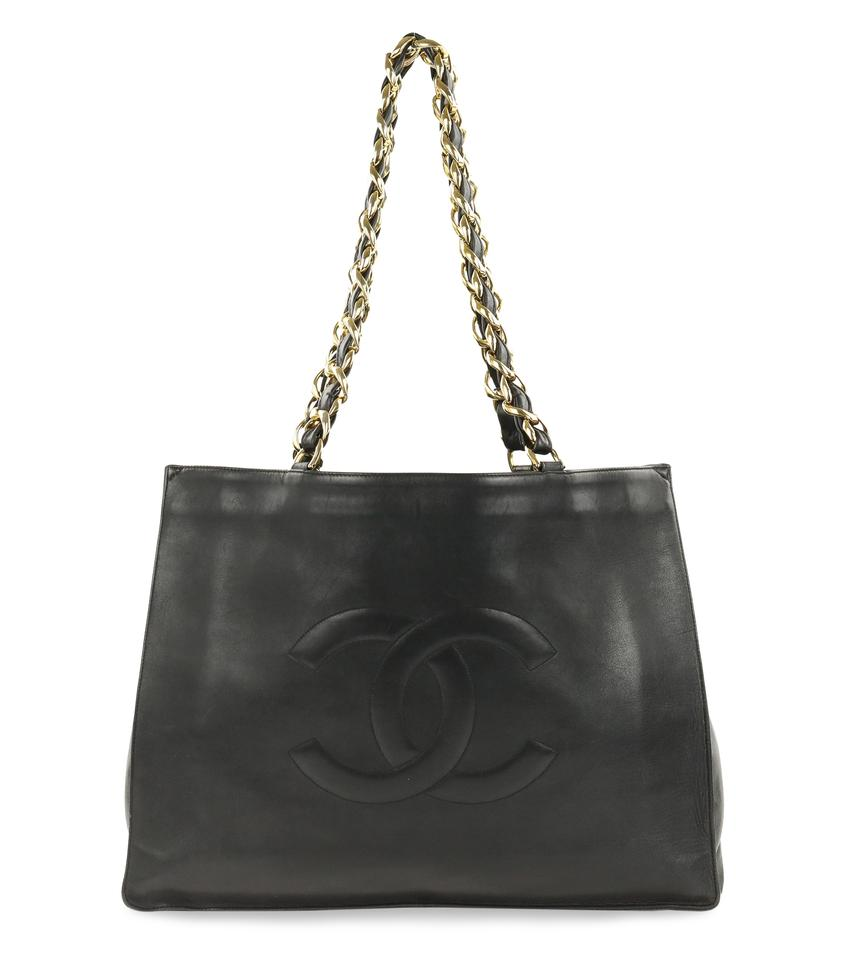 fef977bf2c07 Chanel Shopping Chunky Chain Black Leather Tote - Tradesy