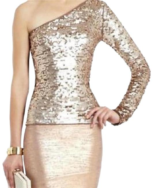 Item - Jute Comb Mellie One Shoulder Long Sleeve Sequin Bronze Gold Top