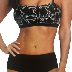 63cd778b24 Pinup Sensations vintage kitty Cat Pinup Rockabilly retro print cat ears  tankini boy shorts swimsuit set