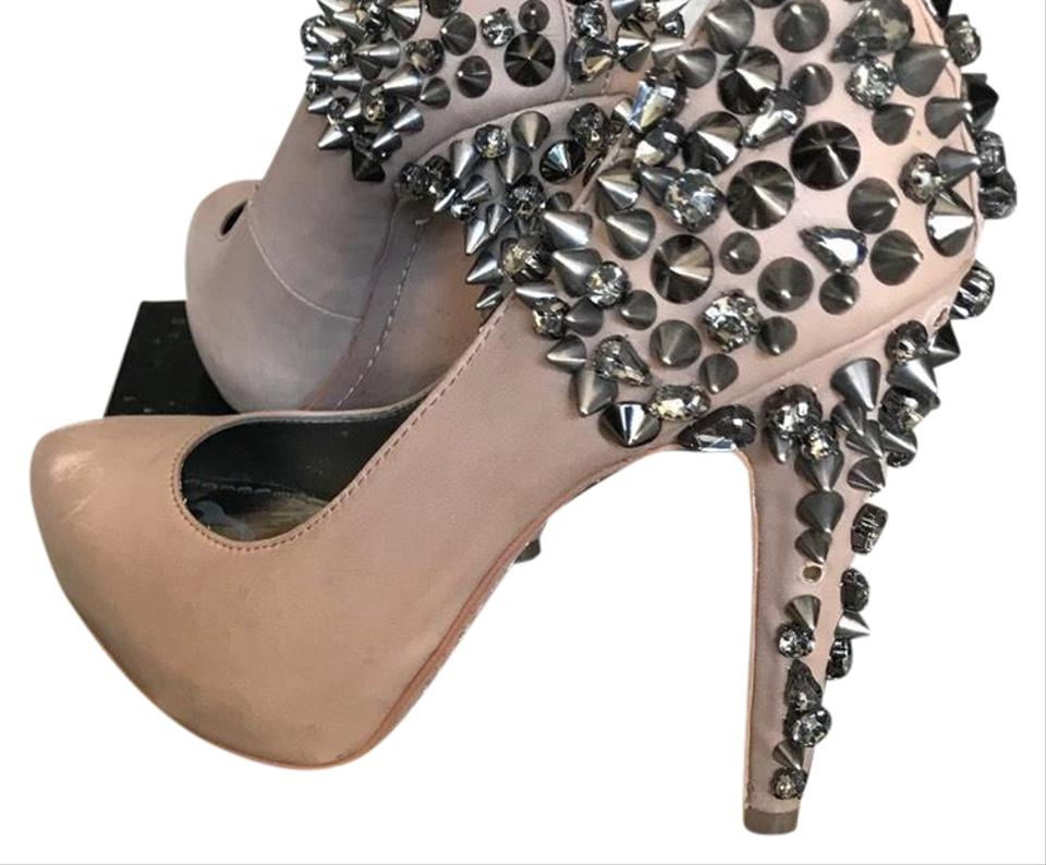 42509f4b0 Sam Edelman Nude Roza Spiked Pumps Size US 6 Regular (M