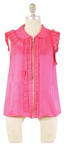Marc by Marc Jacobs Silk Satin Zipper Front Boxy Top Pink