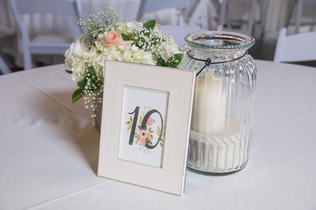 Item - White Cream Framed Table Numbers (1-22) Centerpiece