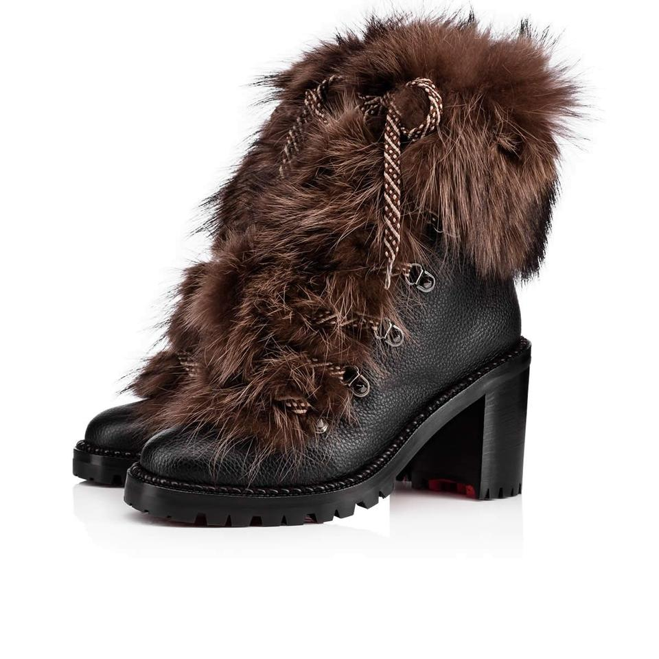f4eeb9a02244 Christian Louboutin Black Fanny 70 Brown Fur Leather Lace Up Hiking ...